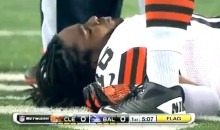 Cleveland Punt Returner Josh Cribbs Was Knocked Out Cold By A Hit From Baltimore Linebacker Dannell Ellerbe (Video)