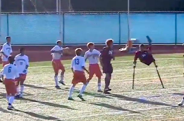 kid with one leg scores amazing soccer goal