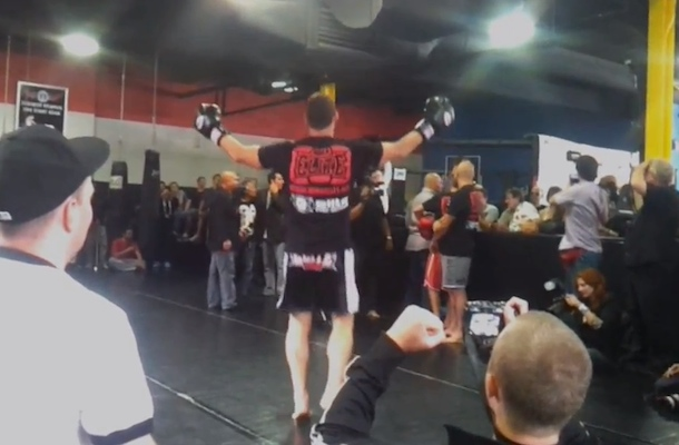 michael bispring kicks heckler fan out of open media workout