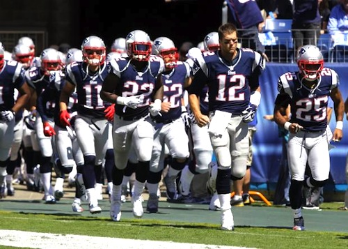 new england patriots running out of the tunnel