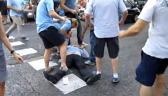 spanish police beat man city fans