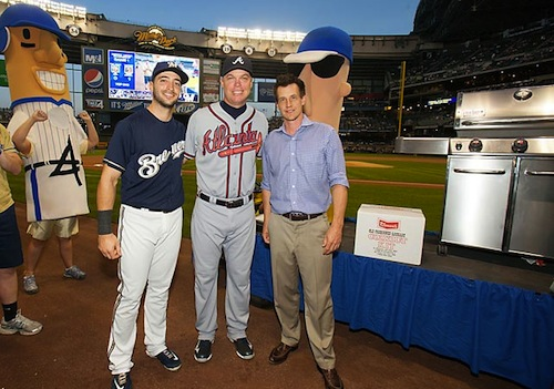 1 chipper jones retirement gift years supply of sausages brewers