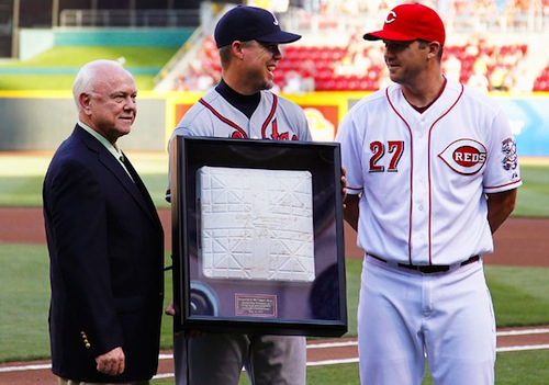 12 chipper jones receiving third base from reds retirement gift
