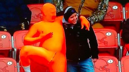 12 cleveland browns fan orange lycra bodysuit crotch zipper creepy nfl fans
