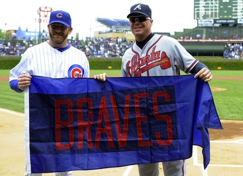 15 chipper jones retirement gift braves flag from wrigley field