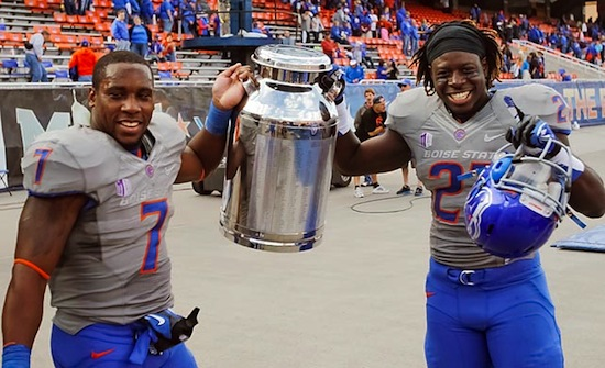 16 milk can trophy - battle of the milk can (boise state broncos vs. fresno state bulldogs) weird college football trophies