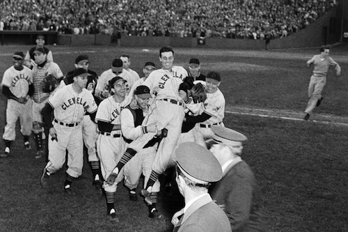 1948 cleveland indians celebrate pennant