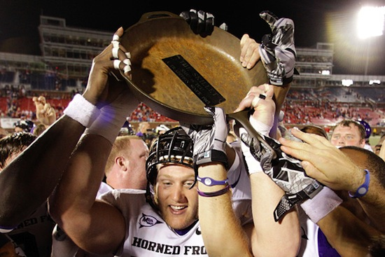 2-iron-skillet-trophy-battle-for-the-iron-skillet-tcu-horned-frogs-vs.-smu-mustangs college football trophies