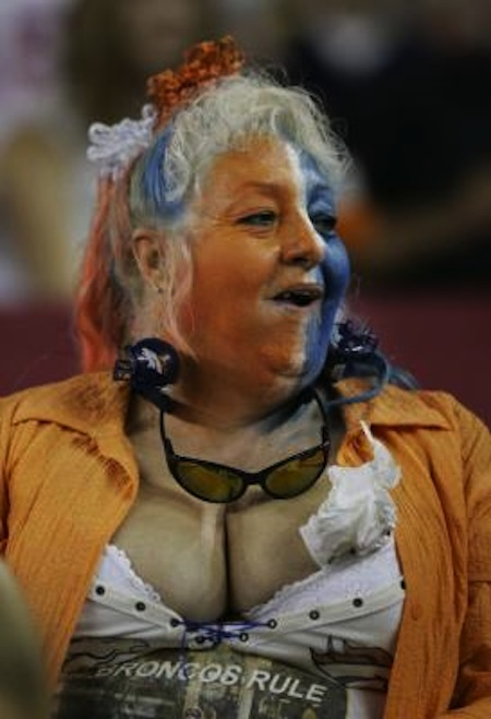 4 nasty broncos fan grandma cleavage creepy nfl fans