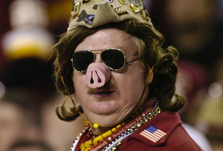 5 redskins fan wig pig nose army hat creepy nfl fans