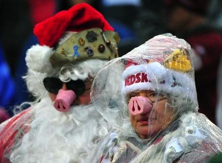 6 redskins fans pig nose santa poncho creepy nfl fans