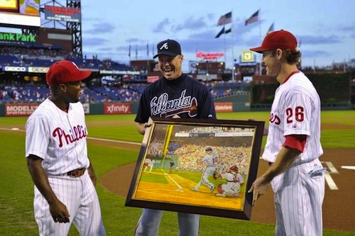 8 chipper jones retirement gift phillies painting