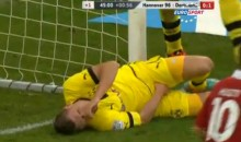 Polish Soccer Player Saves Goal, But Slides Crotch-First Into Goal Post (Video)