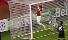 Soccer Fail: Arsenal Player Tries To Hang From Crossbar, Falls On Rear (Video)