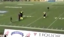 Fan Runs Across Field And Tackles Winnipeg Blue Bombers Mascot From Behind (Video)