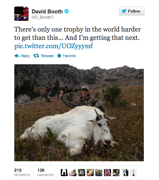 david booth tweet twitpic hunting trophy goat