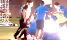 Exploding Flare Thrown At Injured Player And Medics During Greek Soccer Game (Video)