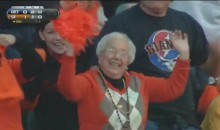 Granny Can't Stop Cheering For The Giants During Game One (Video)