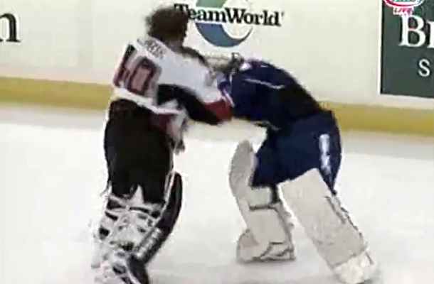 hockey goalie fight ahl helenius lehner