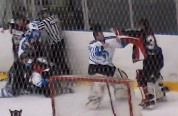 hockey line brawl english junior league