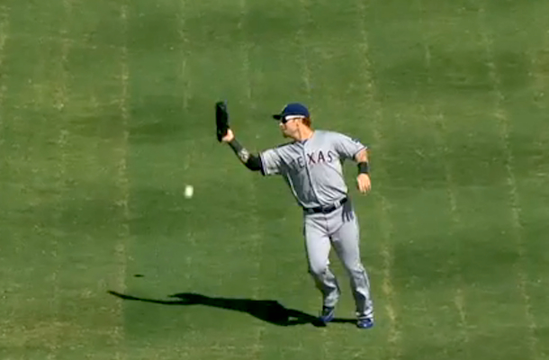 josh hamilton blows catch and a.l. west crown