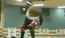 Obese Amateur Wrestler Performs Incredible Moonsault Ariel At Underground Wrestling Event (Video)