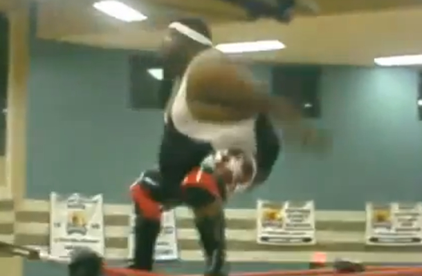 obese wrestler performs amazing stunt move