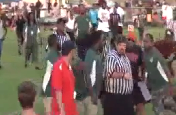 pee wee football coach slaps referee