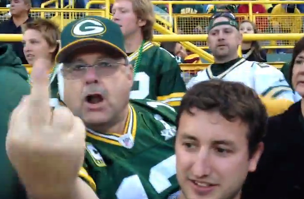 pissed off packers fan gives camera the finger