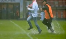 WC Qualifier Between England and Poland Rained Out, So Fans Turn The Pitch Into A Slip And Slide (Video)