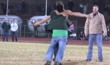 Drunk High School Football Field Intruder Gets Beat Up By A Dozen Dads (Video)