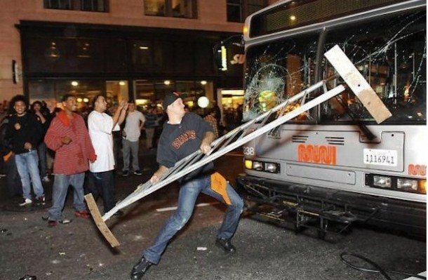 san francisco giants fan destroys bus