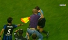 Crazy Ukrainian Soccer Fan Attacks The Referee (Video)