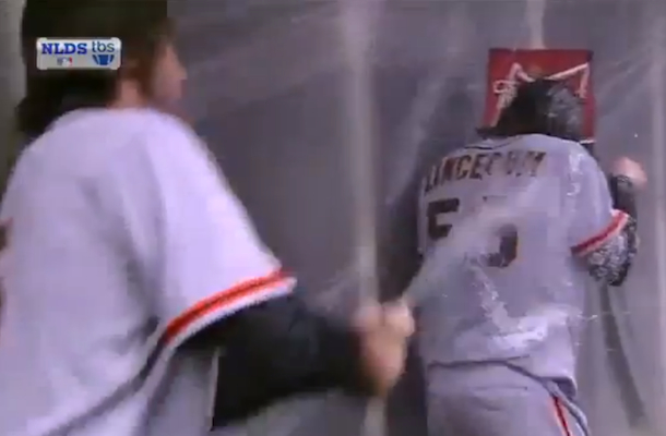tim lincecum sprayed with champagne