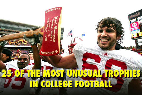 unusual weird college football trophies
