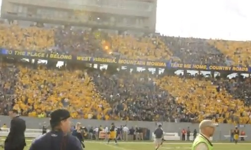 west virginia fans sing john denver