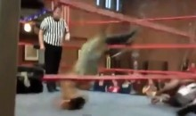 High-Flying Amateur Wrestling Move Goes Horribly Wrong (Video)