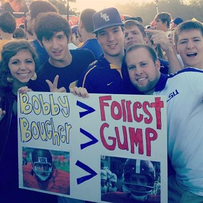 10 great funny ESPN college gameday signs - water boy vs. forrest gump