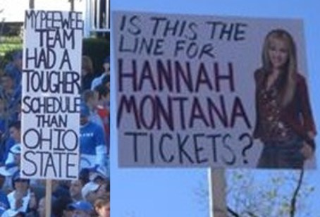 2 great funny ESPN college gameday signs - hannah montana tickets