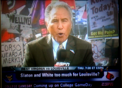 3 great funny ESPN college gameday signs - corso wears a merkin
