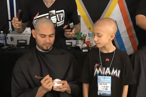 5  florida marlins anibal sanchez shave heads for cancer charity
