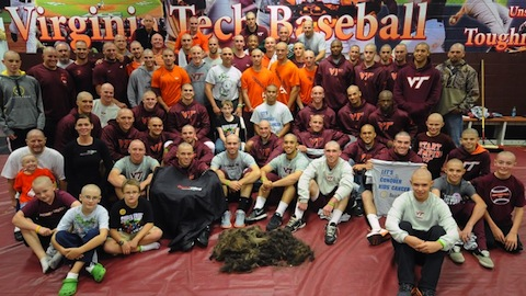 6 virginia tech hokies baseball shaved heads cancer charity