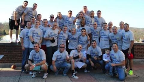 7 denison big red baseball shaved heads cancer charity
