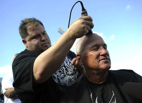 9 joe maddon tampa rays heads shaved for cancer charity