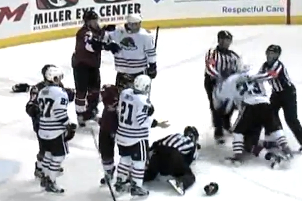 AHL line brawl rockford ice hogs vs. lake erie monsters