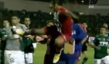 Chilean Soccer Plays Gives Opponent a Flying Kung Fu Kick to the Chest (Video)