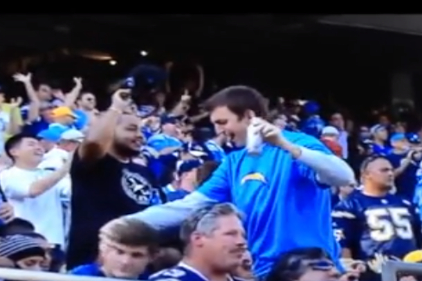 chargers fan oral sex gesture