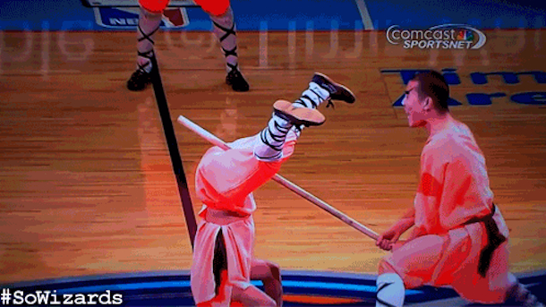 charlotte bobcats halftime show karate stick to nuts