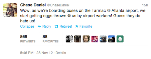 chase daniel tweet bus egged