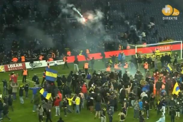 flare war danish soccer game denmark